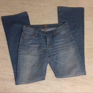 Light/medium wash blue denim bootcut jeans